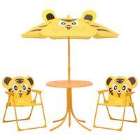 vidaXL 3-delige Bistroset voor kinderen met parasol geel