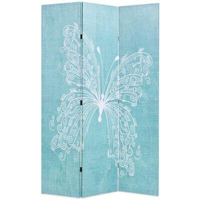vidaXL Kamerscherm inklapbaar vlinder 120x170 cm blauw