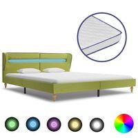 vidaXL Bed met LED en traagschuim matras stof groen 160x200 cm