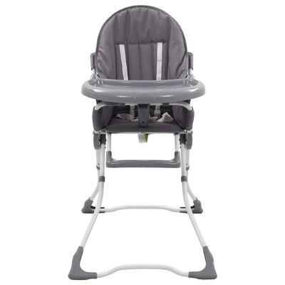 vidaXL Kinderstoel hoog grijs en wit