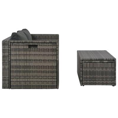 vidaXL Loungeset met kussens 6-delig poly rattan grijs