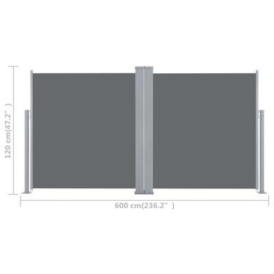 vidaXL Windscherm uittrekbaar 120x600 cm antraciet