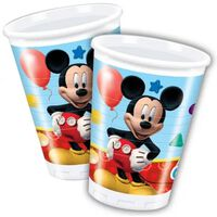 16x Feestbekers Disney Mickey Mouse 200 ml - thema feest drinkbekers