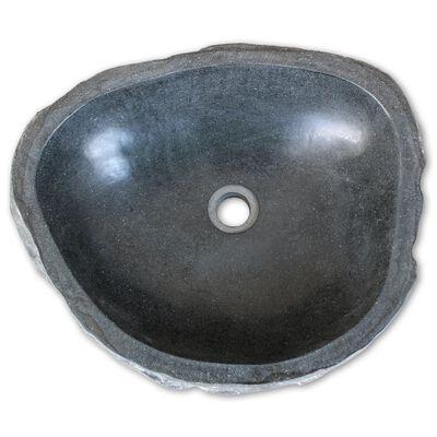 vidaXL Wastafel ovaal 46-52 cm riviersteen