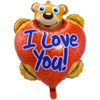 Folie cadeau sturen helium gevulde ballon teddybeer I Love You 80 cm