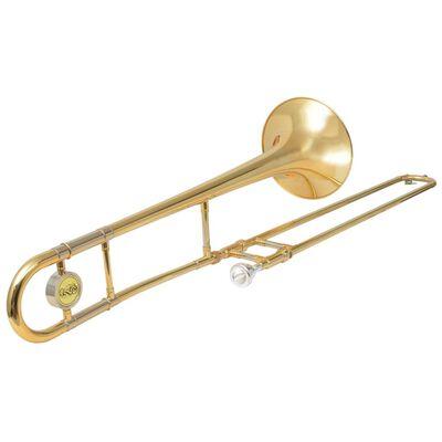 vidaXL Trombone messing met goudlak Bb
