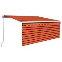 vidaXL Luifel handmatig uittrekbaar rolgordijn 3,5x2,5 m oranje bruin