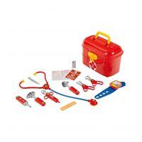 Klein Dokterskoffertje met accessoires 10-delig rood