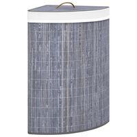 vidaXL Hoekwasmand 60 L bamboe grijs