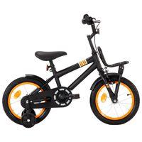 vidaXL Kinderfiets met voordrager 14 inch zwart en oranje