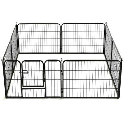 vidaXL Hondenren met 8 panelen 60x80 cm staal zwart ,