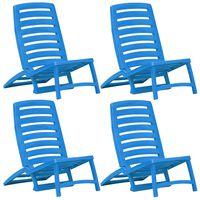 vidaXL Kinderstrandstoelen inklapbaar 4 st kunststof blauw
