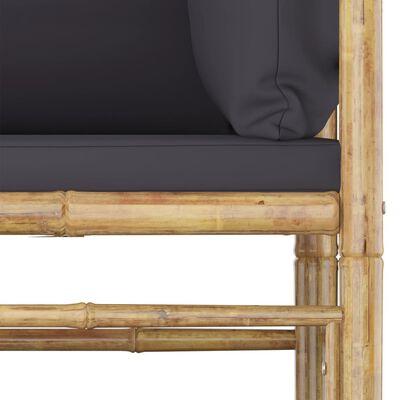 vidaXL 6-delige Loungeset met donkergrijze kussens bamboe