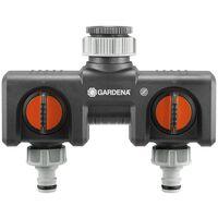 Gardena Twin Tap Connector Zwart en Oranje 8193-20