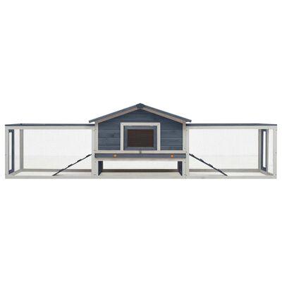 vidaXL Konijnenhok 303x60x86 cm massief grenen- en vurenhout grijs