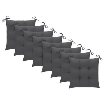 vidaXL Tuinstoelen stapelbaar 8 st met kussens massief teakhout