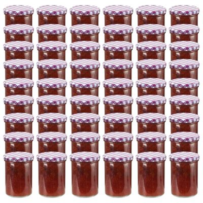 vidaXL Jampotten met wit met paarse deksels 48 st 400 ml glas