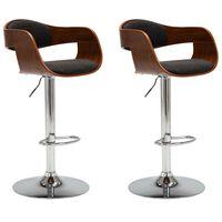 vidaXL Barstoelen 2 st gebogen hout en stof grijs