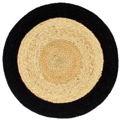 vidaXL Placemats 4 st 38 cm jute en katoen natuurlijk en zwart, Zwart