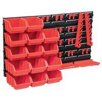 vidaXL 39-delige Opslagbakkenset met wandpanelen rood en zwart