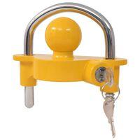 vidaXL Aanhangwagenslot met 2 sleutels staal en aluminiumlegering geel