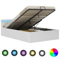 vidaXL Bedframe met opslag hydraulisch LED kunstleer wit 120x200 cm