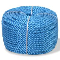 vidaXL Touw gedraaid 6 mm 200 m polypropyleen blauw