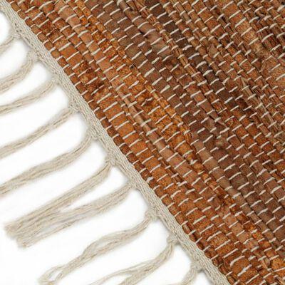 vidaXL Vloerkleed chindi handgeweven 120x170 cm leer lichtgrijs en tan
