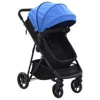 vidaXL Kinderwagen 2-in-1 staal blauw en zwart
