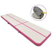 vidaXL Gymnastiekmat met pomp opblaasbaar 700x100x15 cm PVC roze