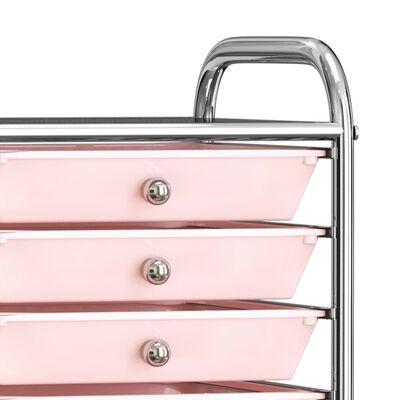 vidaXL Opbergtrolley met 10 lades mobiel kunststof ombre roze