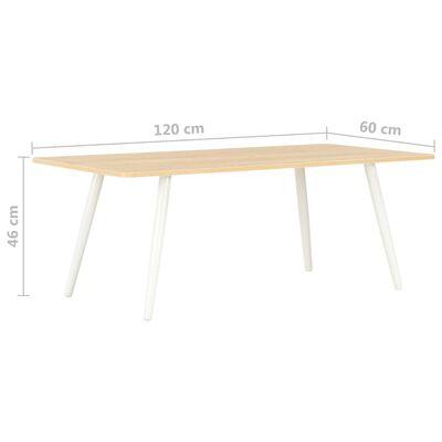 vidaXL Salontafel 120x60x46 cm wit en eikenkleurig