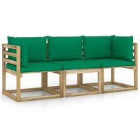 vidaXL Tuinbank 3-zits met groene kussens