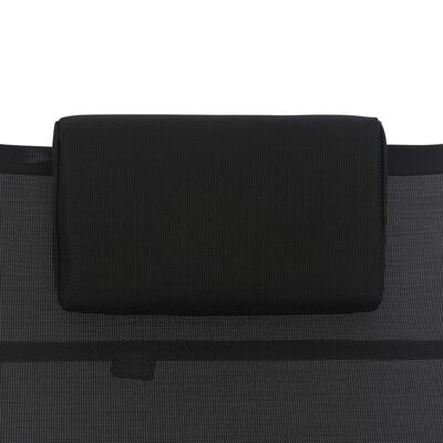 vidaXL Ligbed aluminium textileen zwart