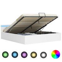 vidaXL Bedframe met opslag hydraulisch LED kunstleer wit 160x200 cm