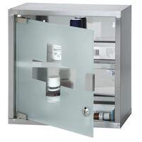 Medicijnkastje - RVS - slot - transparante deur - 30 x 30 x 12 cm