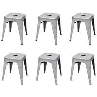 vidaXL Krukken stapelbaar 6 st staal grijs