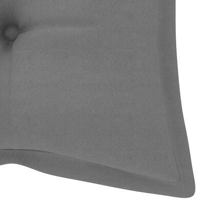 vidaXL Schommelbank met grijs kussen 120 cm massief teakhout