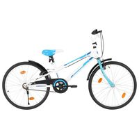 vidaXL Kinderfiets 24 inch blauw en wit