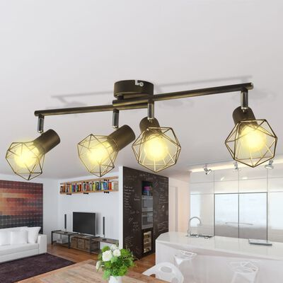vidaXL Lamp industrieel met 4 LED's zwart