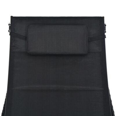 vidaXL Ligbed poly rattan en textileen zwart