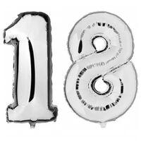 18 jaar zilveren folie ballonnen 88 cm leeftijd/cijfer -