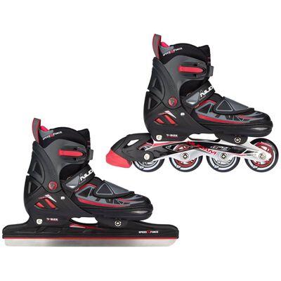 Nijdam schaats/skate-combinatie junior zwart/rood maat 29-32
