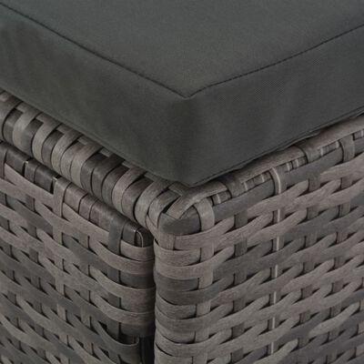 vidaXL Loungeset met kussens 4-delig poly rattan grijs