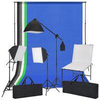 vidaXL Fotostudioset met opnametafel, lampen en achtergronden