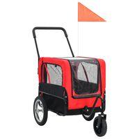 vidaXL Huisdierenfietskar 2-in-1 aanhanger en loopwagen rood en zwart