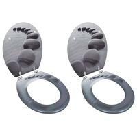 vidaXL Toiletbrillen met deksels 2 st stenen MDF