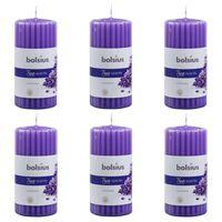 Bolsius Geurkaarsen geribbeld 6 st 120x58 mm lavendel