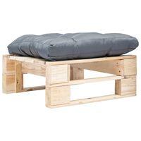 vidaXL Tuinpoef met grijs kussen pallet hout naturel