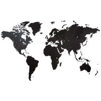 MiMi Innovations Wereldkaart muurdecoratie Giant 280x170 cm hout zwart